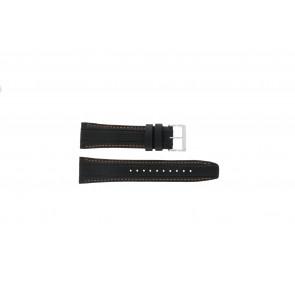 Seiko correa de reloj 7T62-0HL0 / SNAB59P1 / SNAB59JC / SNAB59J1 Cuero Negro 24mm + costura naranja