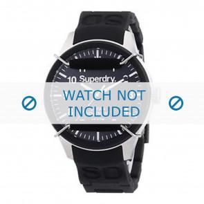 Superdry correa de reloj SYG109B Silicona Negro + costura negro