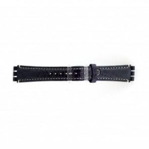 Correa de reloj de cuero genuino para relojes Swatch croco azul 19mm ES- 2.05
