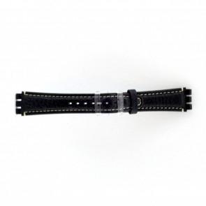 Correa de reloj de cuero genuino para relojes Swatch azul oscuro / gris 19mm ES- 3.05