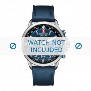 Swiss Military Hanowa correa de reloj 06-4224.04.003 Cuero Azul  22mm + costura azul