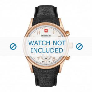 Correa de reloj Swiss Military Hanowa 06-4278.09.001-Rosé Buckle Cuero Negro 24mm