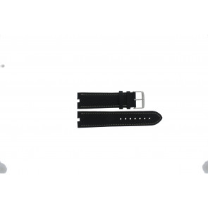 Tommy Hilfiger correa de reloj TH-38-1-14-0686 ALT 307.01 Cuero Negro 24mm + costura blanca