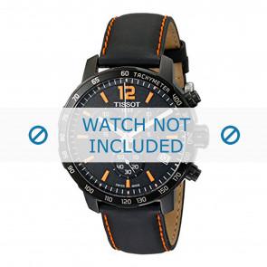Tissot correa de reloj T095.417.360.570.0 - T600035367 / T095.417.A Cuero Negro 19mm + costura naranja