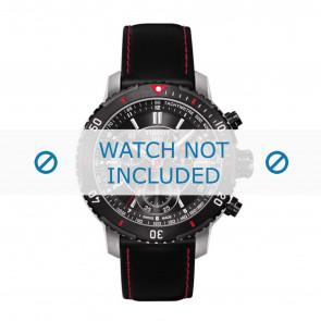 Tissot correa de reloj T067.417.260.5100 T067417A - T610031781 Cuero Negro 19mm + costura roja