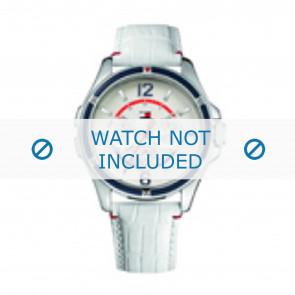 Tommy Hilfiger correa de reloj TH-78-3-18-0793 / TH1780861 Cuero Blanco + costura blanca