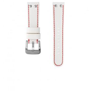 TW Steel correa de reloj TWB39 / TW39 Cuero Blanco 22mm + costura roja